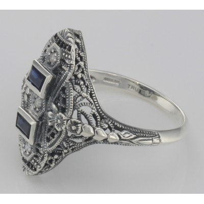 Art Deco Style Filigree Ring Blue Sapphires and 3 Diamonds - Sterling Silver
