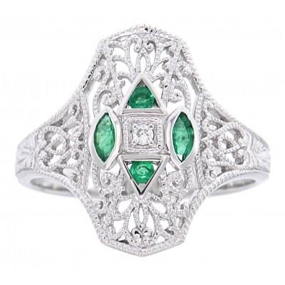 Art Deco Style Filigree Diamond Ring w/ 4 emerald accents - 14kt White Gold