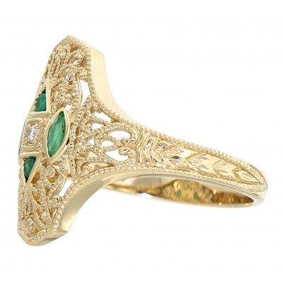 Art Deco Style Filigree Diamond Ring w/ 4 emerald accents - 14kt Yellow Gold