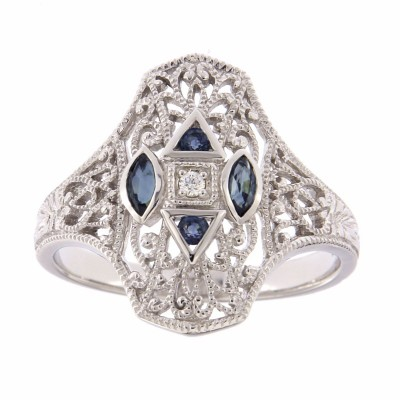 Art Deco Style Filigree Diamond Ring w/ 4 Blue Sapphires - 14kt White Gold