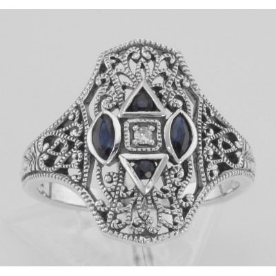 Art Deco Style Filigree Diamond Ring w/ 4 Blue Sapphires - Sterling Silver