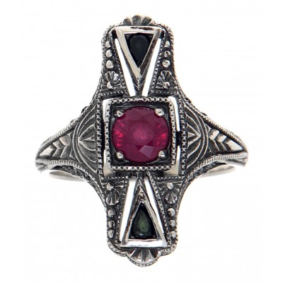 Art Deco Style Ruby and Sapphire Filigree Ring - Sterling Silver