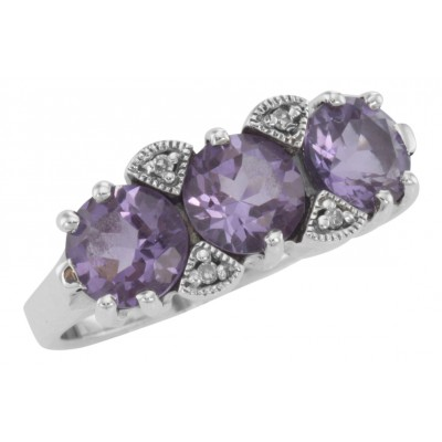 Lovely Art Deco Style 3 Stone Amethyst  Diamond Filigree Ring - Sterling Silver