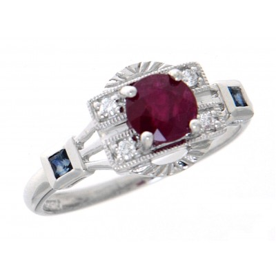 Ruby, Diamond and Sapphire Filigree Ring - Art Deco Style 14kt White Gold