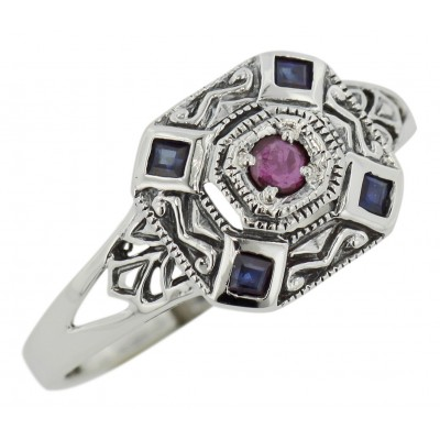 Sapphire / Ruby Filigree Ring - Deco Style - Sterling Silver