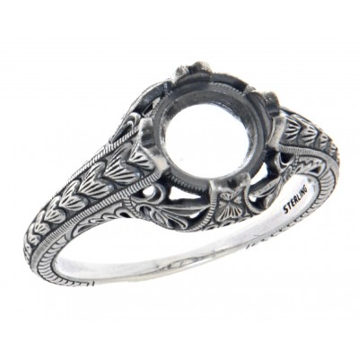 Semi Mount 7mm Classic Victorian Style Filigree Ring - Sterling Silver