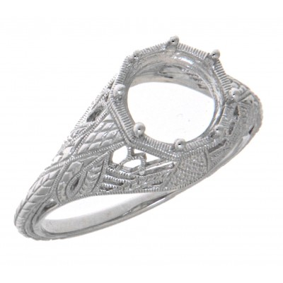Semi Mount 8mm Classic Victorian Style Filigree Ring 14kt White Gold