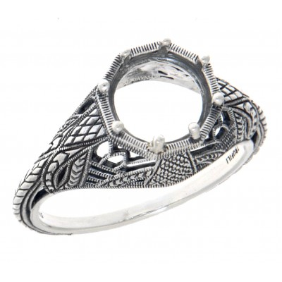 Semi Mount 8mm Classic Victorian Style Filigree Ring - Sterling Silver