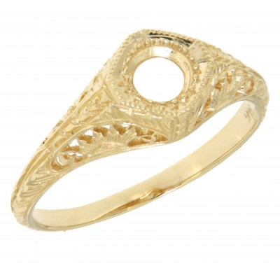 Semi Mount Art Deco Style 14kt Yellow Gold Filigree Ring 4.5 mm Center