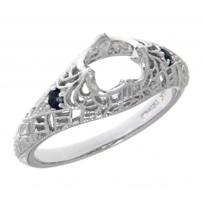 Semi Mount Filigree Ring with Sapphire Gems - 14kt White Gold
