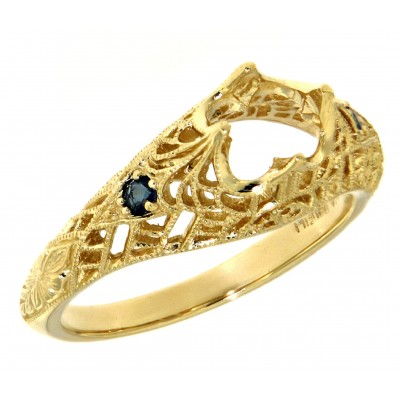 Semi Mount Filigree Ring with Sapphire Gems - 14kt Yellow Gold