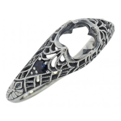 Semi Mount Filigree Ring with Sapphire Gems - Sterling Silver