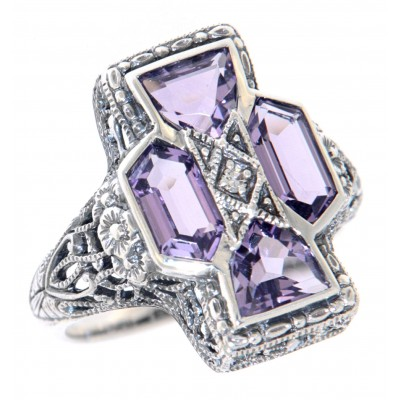 Unique Art Deco Style Amethyst and Diamond Filigree Ring - Sterling Silver