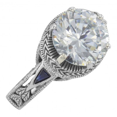 Victorian Style 6.5 Carat CZ Solitare Ring with Sapphire Accents Sterling Silver
