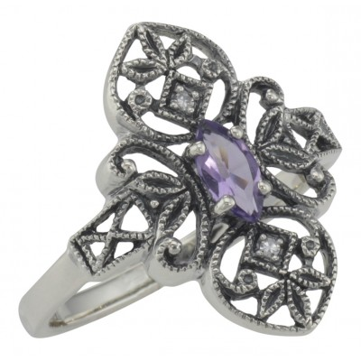 Victorian Style Amethyst Filigree Ring with Two Diamonds - Sterling Silver