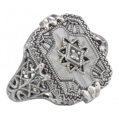Victorian Style Camphor Glass Crystal Filigree Diamond Ring Sterling Silver