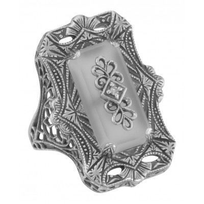 Victorian Style Camphor Glass Filigree Diamond Ring - Sterling Silver