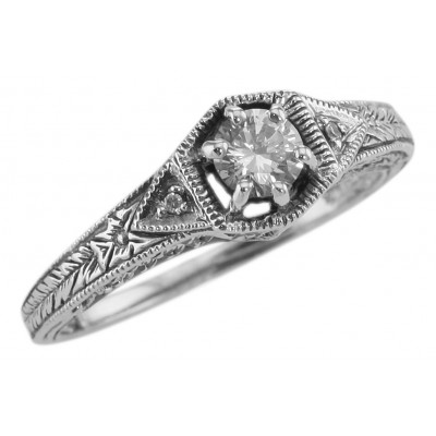 Victorian Style Cubic Zirconia Filigree Ring w/ 2 Diamonds - Sterling Silver