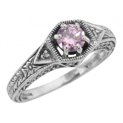 Victorian Style Pink Cubic Zirconia Filigree Ring w/ 2 Diamonds Sterling Silver