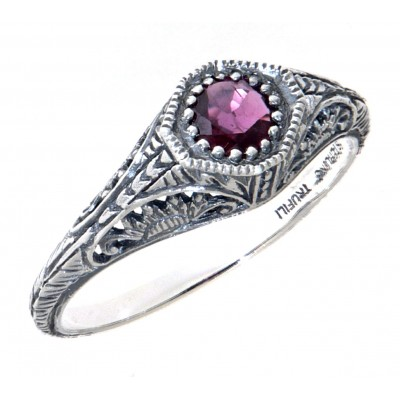 Victorian Style Ruby Filigree Ring Sterling Silver