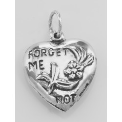 Forget Me Not Heart Charm or Pendant - Sterling Silver