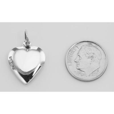 Antique Border Design Heart Charm or Pendant - Sterling Silver