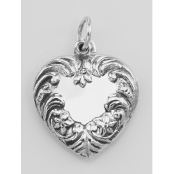 Antique Style Heart Charm or Pendant - Sterling Silver