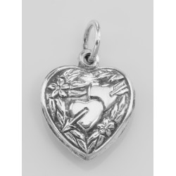 Two Heart Charm or Pendant - Sterling Silver