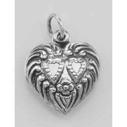 Antique Style Double Heart Charm or Pendant - Sterling Silver