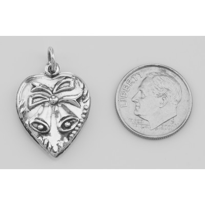 Heart Pendant Charm with Bells - Sterling Silver