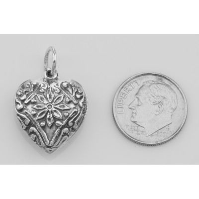 Antique Style Floral Heart Charm or Pendant - Sterling Silver