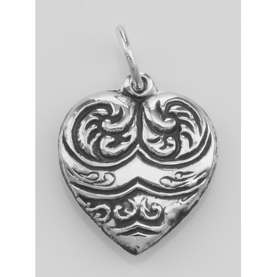 Heart Charm or Pendant - Sterling Silver