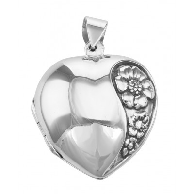 Antique Style Puffy Heart Locket Pendant - Flower Design - Sterling Silver