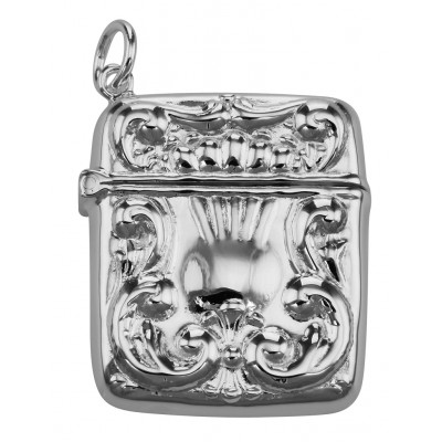 Antique Style Stamp Box - Locket - Pendant - Sterling Silver