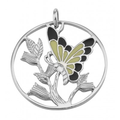 Beautiful Enamel Butterfly and Floral Pendant Sterling Silver