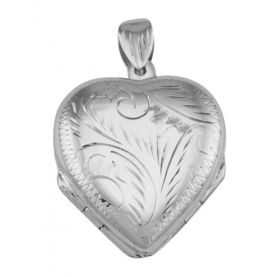 Beautiful Sterling Silver Heart Locket Pendant - 4 Photo Large Clover
