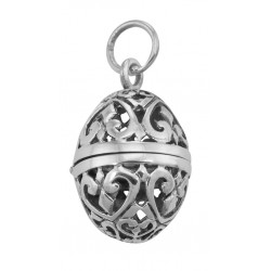 Sterling Silver Egg Filigree Aromatherapy Locket Pendant