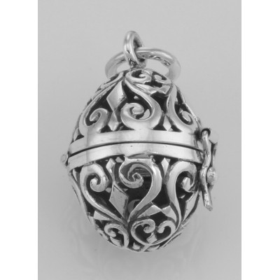 Sterling Silver Egg Filigree Aromatherapy Locket Pendant with Front Clasp