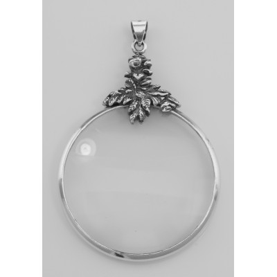 Antique Style Rose Magnifying Glass Pendant - (3X) - Sterling Silver