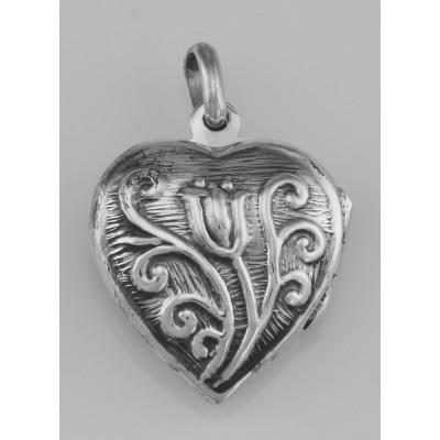 Art Nouveau Style Tulip Locket Pendant In Fine Sterling Silver