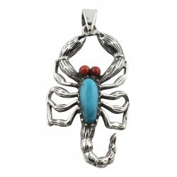 Scorpion Pendant Turquoise / Carnelian Sterling Silver