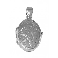 Etched Oval Sterling Silver Locket - Small Pendant