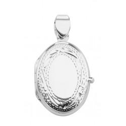 Sterling Silver Etched Border Design Oval Locket - Engravable