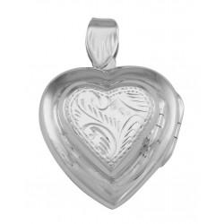 Vintage Style Double Heart Locket Pendant in Fine Sterling Silver