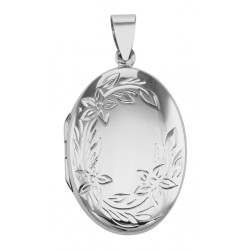 Antique Style Oval Floral Locket Pendant - Sterling Silver