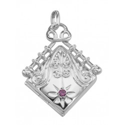 Victorian Style Diamond Shaped Locket - Fob Pendant - Sterling Silver