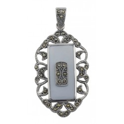 Antique Style Marcasite and Purple Mother of Pear Pendant - Sterling Silver