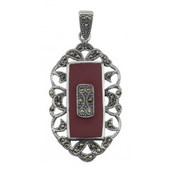 Red Coral Marcasite Pendant - Vintage Style - Sterling Silver