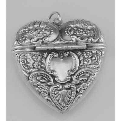 Victorian Style Sterling Silver Heart Locket Box Pendant - Large