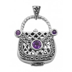 Sterling Silver Amethyst Purse Pendant / Pillbox